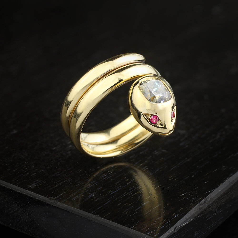 Antique Gold, Diamond and Ruby Snake Ring