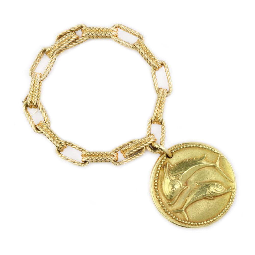Van Cleef & Arpels Textured Gold Charm Bracelet