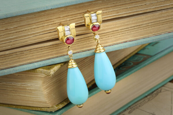 Bulgari, Turquoise, Ruby And Diamond Ear Pendants
