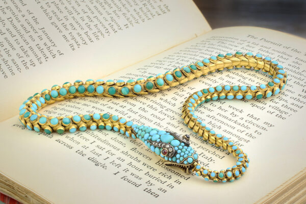 Victorian Turquoise And Gold Snake Necklace