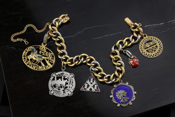 Tri-Color Gold And Diamond Set Charm Bracelet