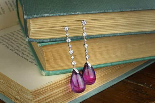 Amethyst And Diamond Ear Pendants