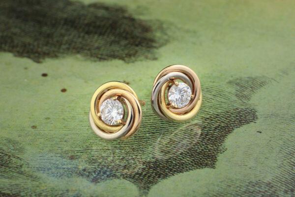 Cartier, Trinity Gold And Diamond Stud Earrings
