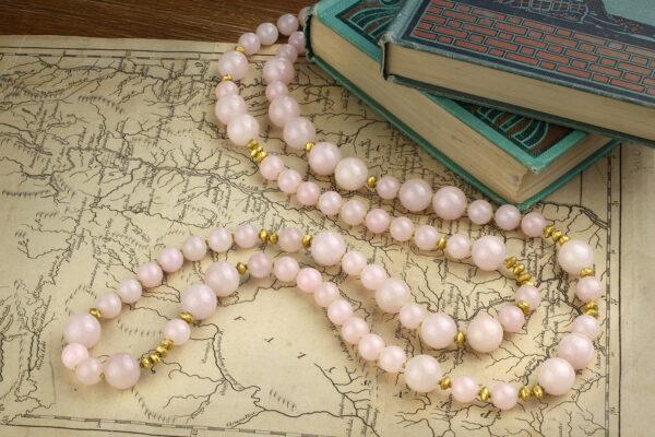 Rose Quartz And Gold Bead Necklace