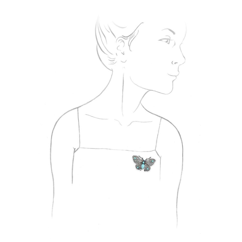 Antique Multi-Gem Butterfly Brooch