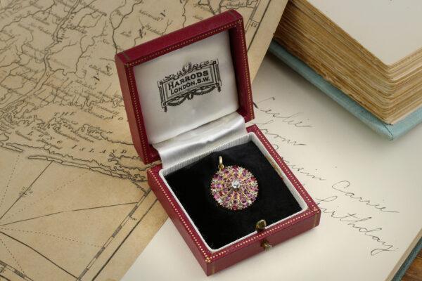 Antique Ruby And Diamond Set Gold Locket