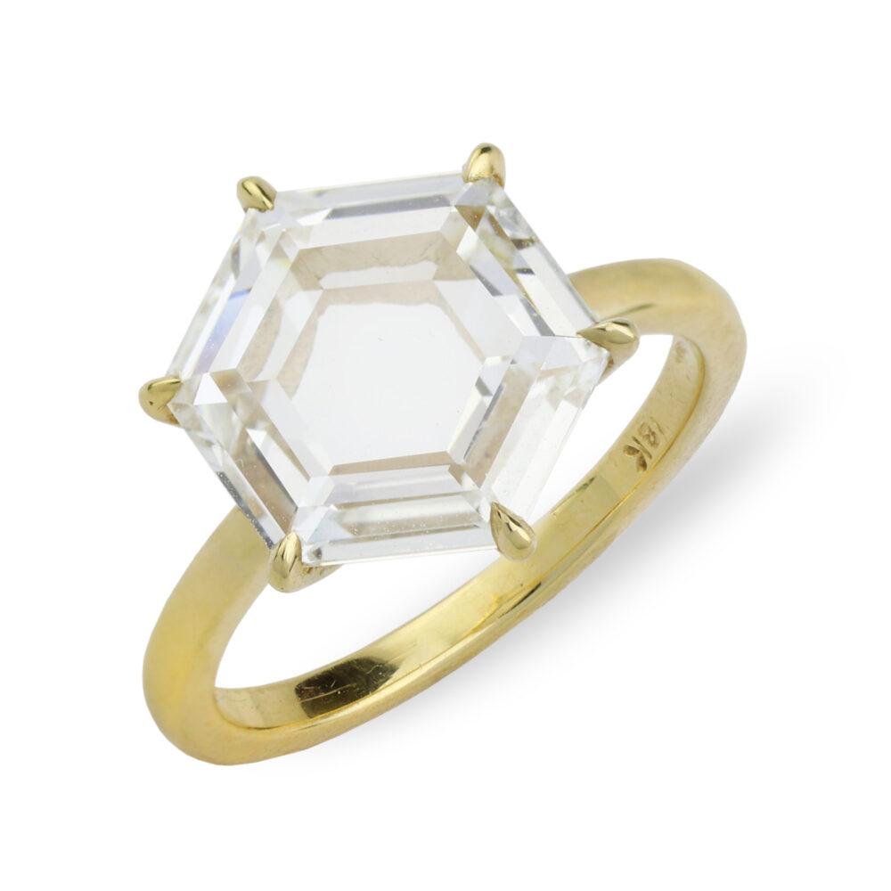 Hexagonal Cut Diamond Ring