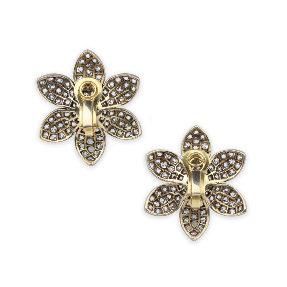Diamond Flower Ear Clips