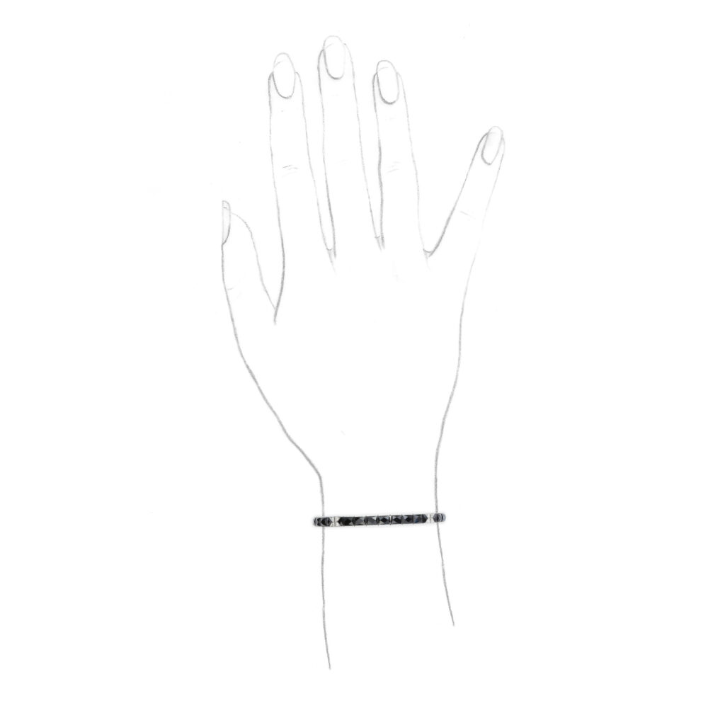 Onyx, Diamond and Platinum Line Bracelet