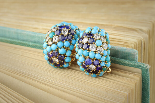 Van Cleef & Arpels Turquoise, Sapphire And Diamond Ear Clips