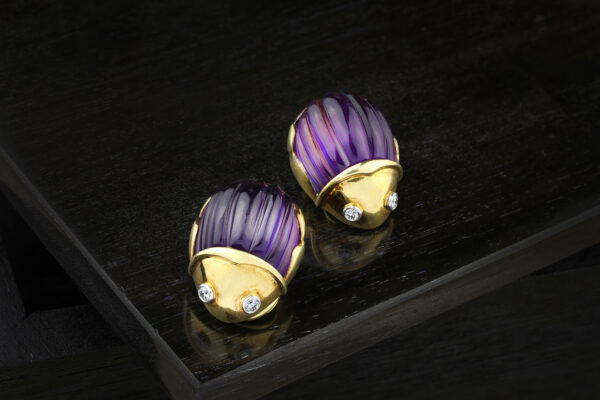 Tiffany & Co. Amethyst, Diamond And Gold Ear Clips