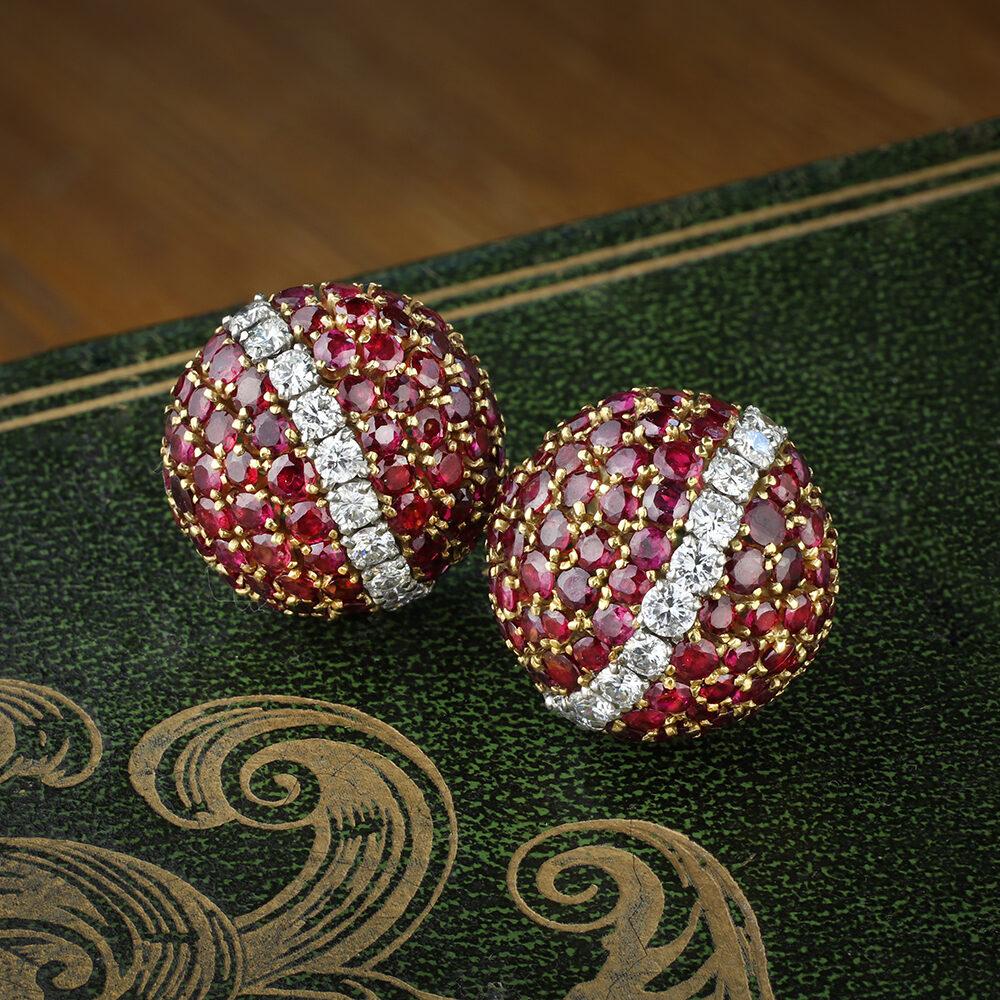 Van Cleef & Arpels Ruby and Diamond Ear Clips