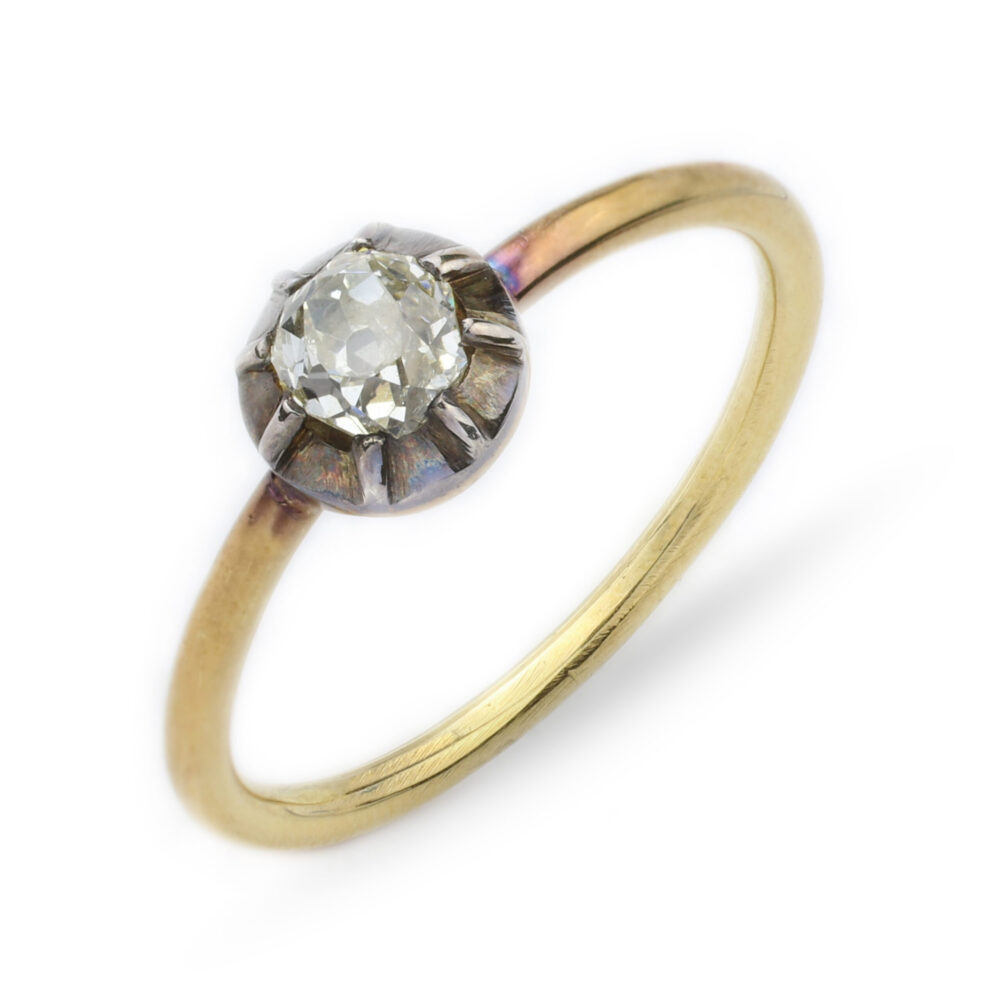 Old Cut Cushion Shaped Diamond Ring