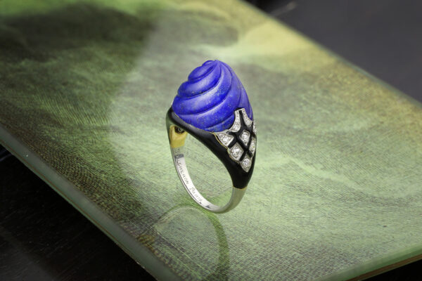 Boucheron Lapis Lazuli, Enamel And Diamond Ring