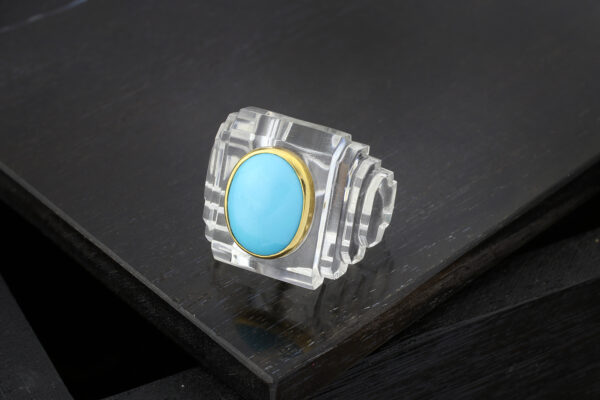 Boivin Rock Crystal And Turquoise Ring
