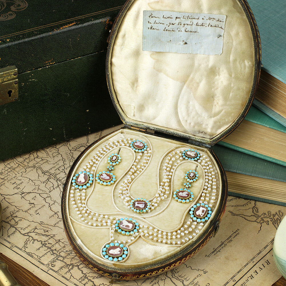 A Set of Antique Turquoise, Pearl and Agate Cameo Jewelry