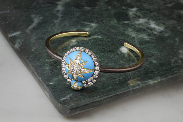 Enamel And Diamond Bangle Bracelet