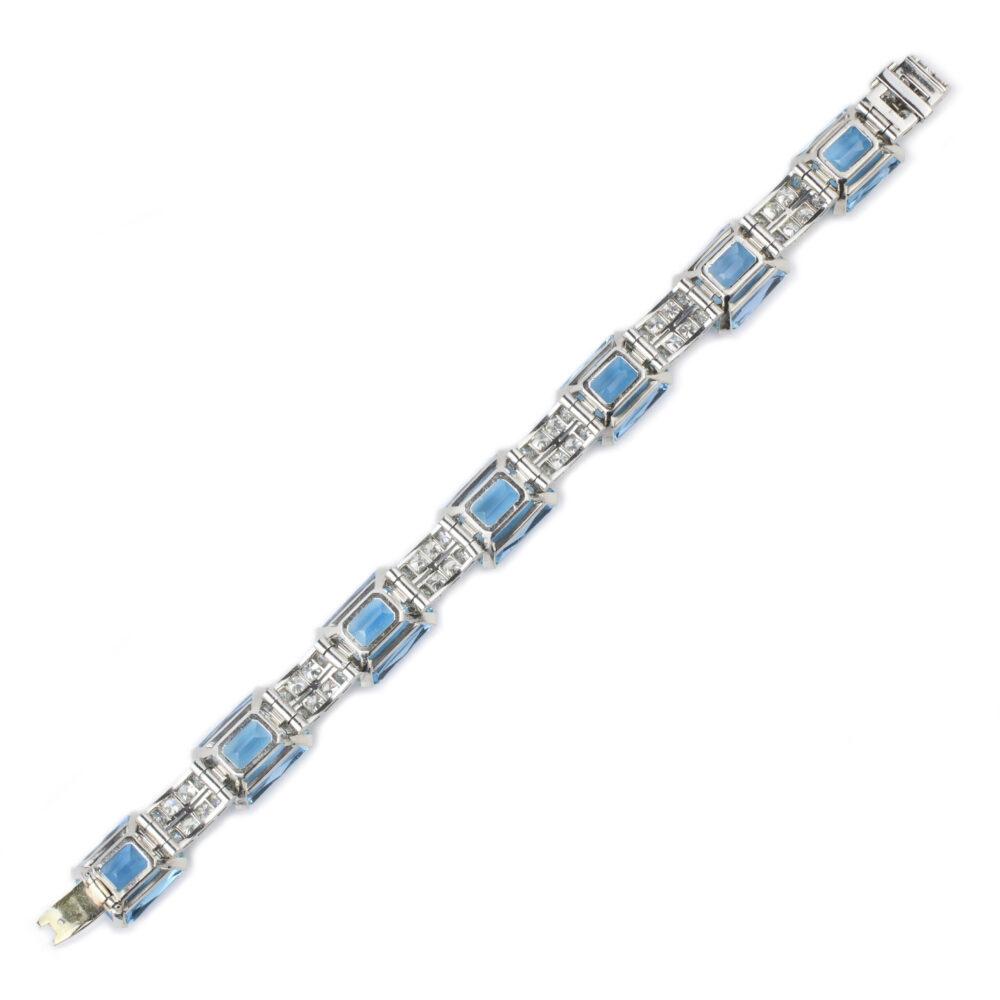 Art Deco Aquamarine and Diamond Bracelet