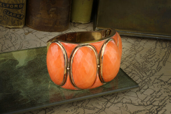 Mid-Century Coral And Gold Cuff Bracelet