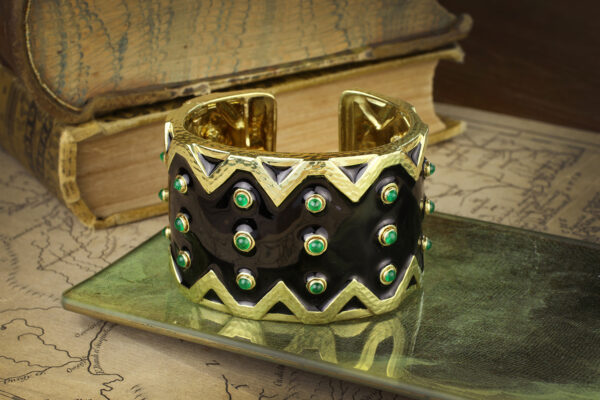 David Webb Enamel, Emerald And Gold Cuff Bracelet