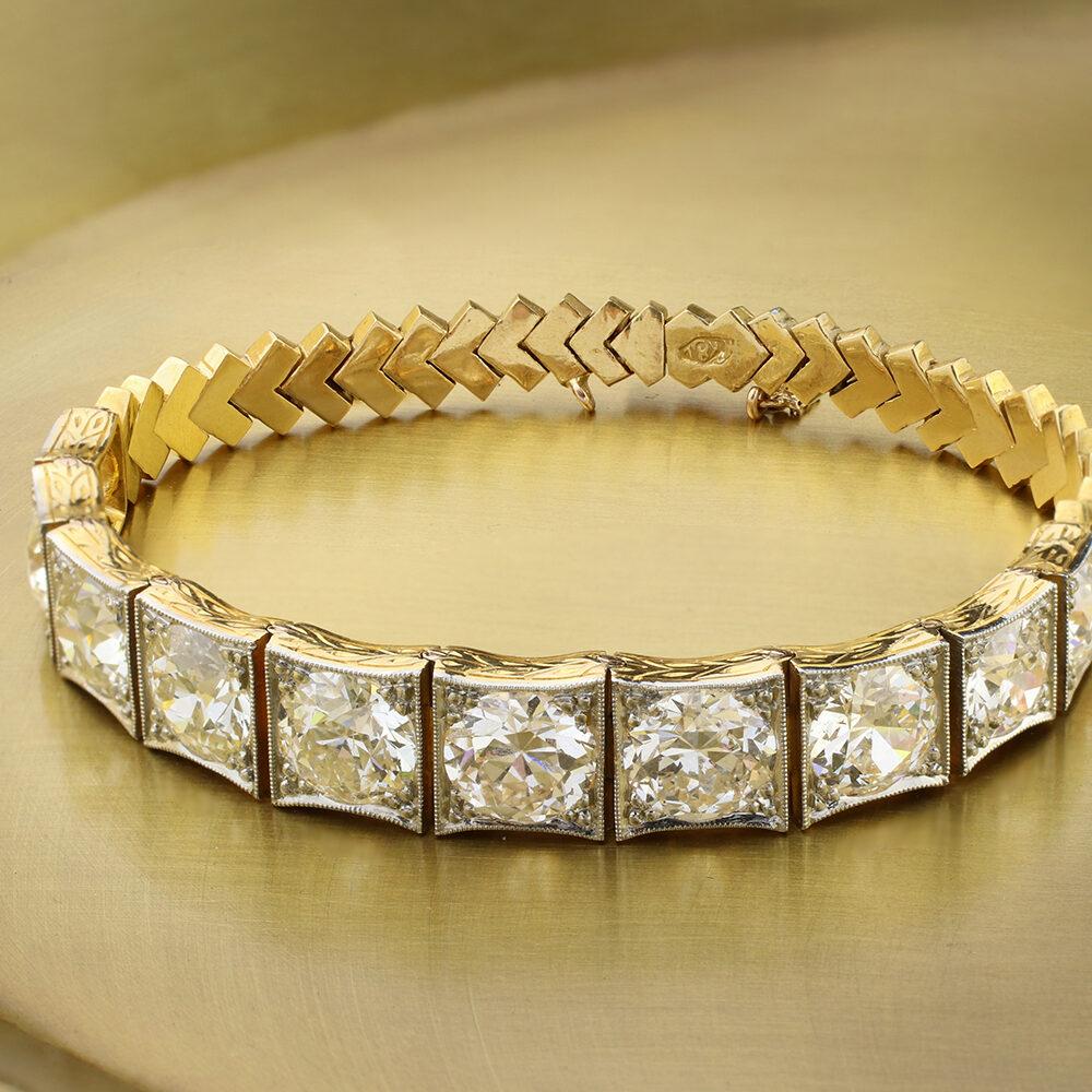 Old Cut Diamond, Platinum and Gold Bracelet
