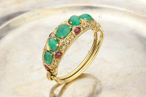 Cartier Emerald, Ruby And Diamond Bangle Bracelet» Price On Request «