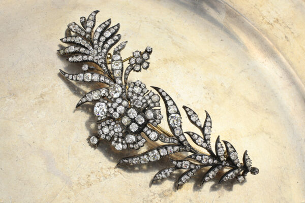 Antique Diamond Floral Brooch
