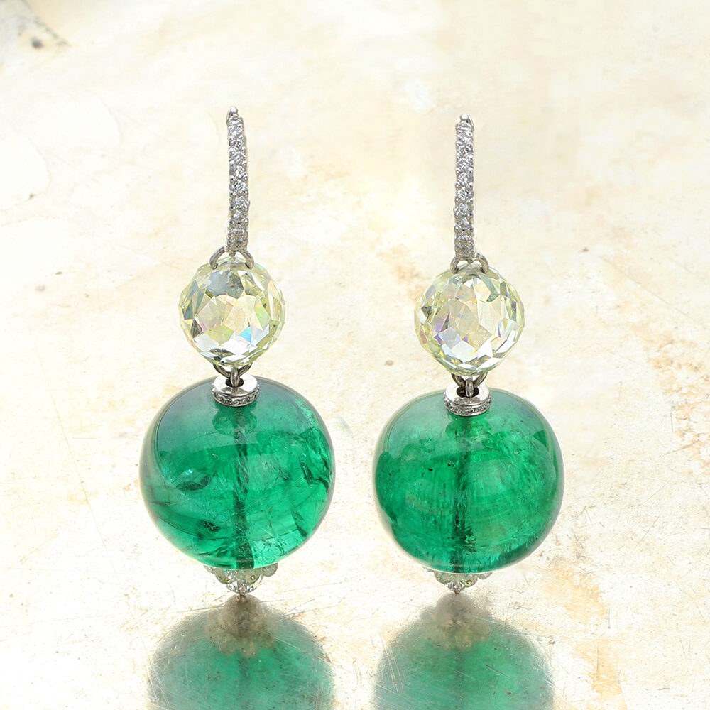 BHAGAT Emerald and Diamond Ear Pendants