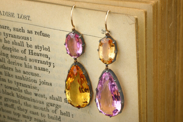 Orange And Pink Topaz Ear Pendants