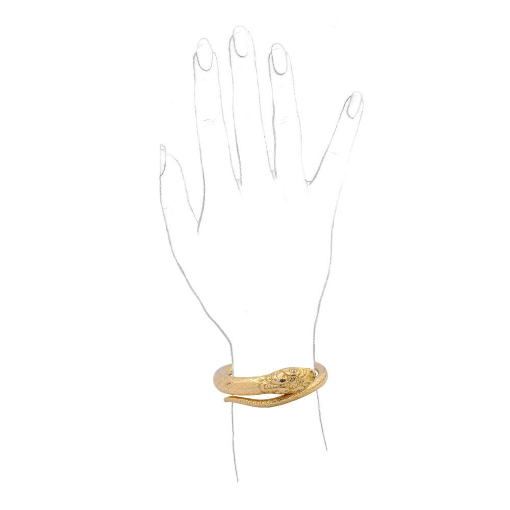 Gold and Diamond Hinged Bangle Bracelet