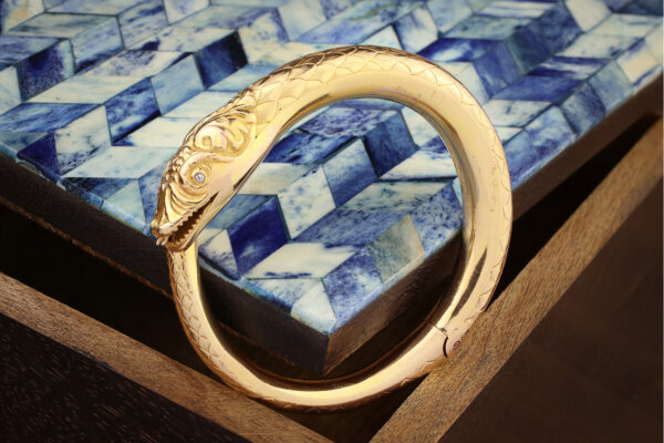 Gold And Diamond Hinged Bangle Bracelet