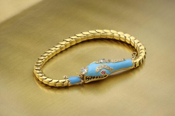 An Antique Enamel, Diamond And Gold Snake Bracelet