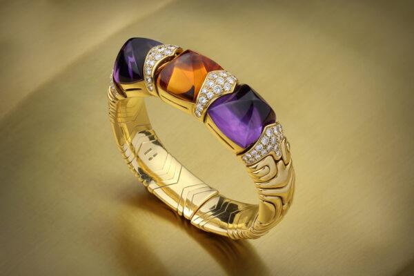Bulgari 'Alveare' Amethyst, Citrine And Diamond Cuff Bracelet