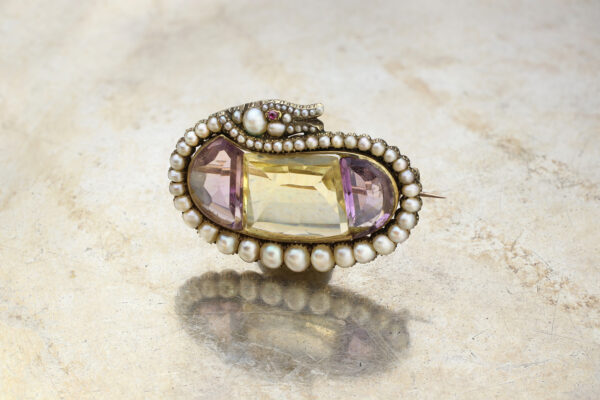 Antique Multi-Gem And Natural Pearl Brooch