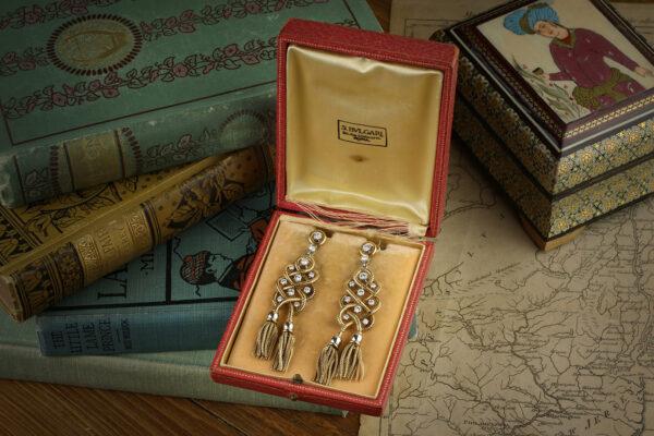 Bulgari Gold, Platinum And Diamond Ear Pendants
