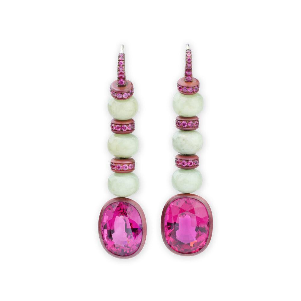 Hemmerle Pink Tourmaline, Sapphire and Jade Ear Pendants