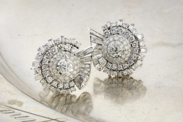 Platinum And Diamond Ear Clips