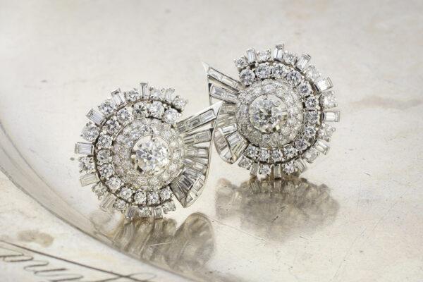 Platinum And Diamond Ear Clips