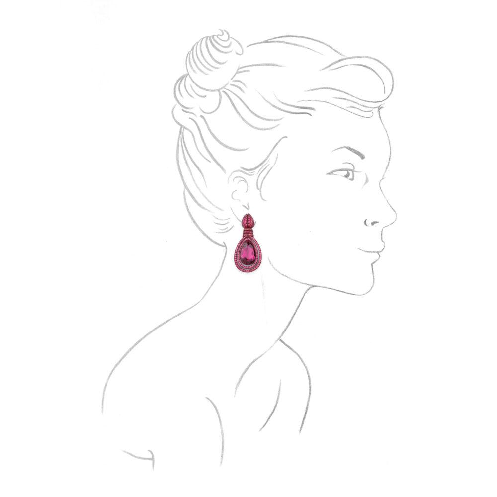 Hemmerle Tourmaline, Orange Sapphire and Spinel Ear Pendants