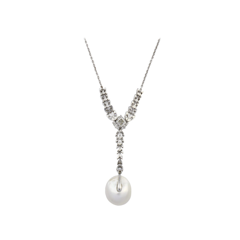 Belle Epoque Natural Pearl and Diamond Necklace