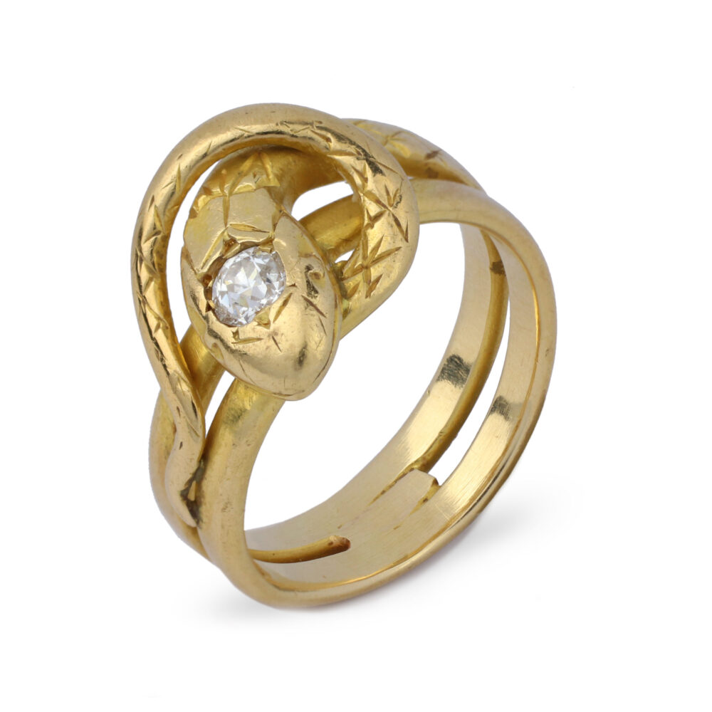 Sculpted Gold and Diamond Snake Ring