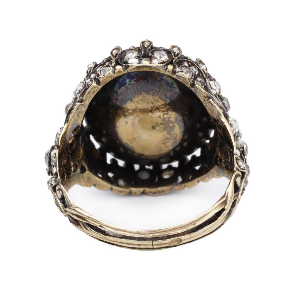 Antique Pink Ceylon Sapphire and Diamond Ring