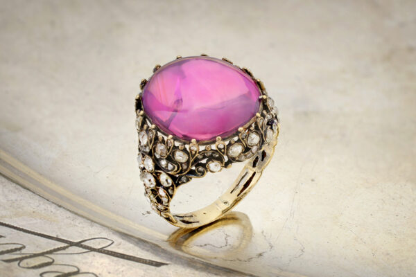 Antique Pink Ceylon Sapphire And Diamond Ring