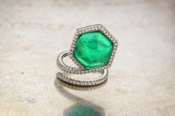 Taffin Cabochon Emerald, Diamond And Platinum Ring» Price On Request «
