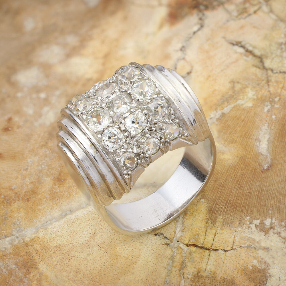 Rene Boivin Platinum and Diamond 'Bande' Ring